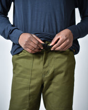 Mens The Hiking Pant in Green Front Detail #colour_green