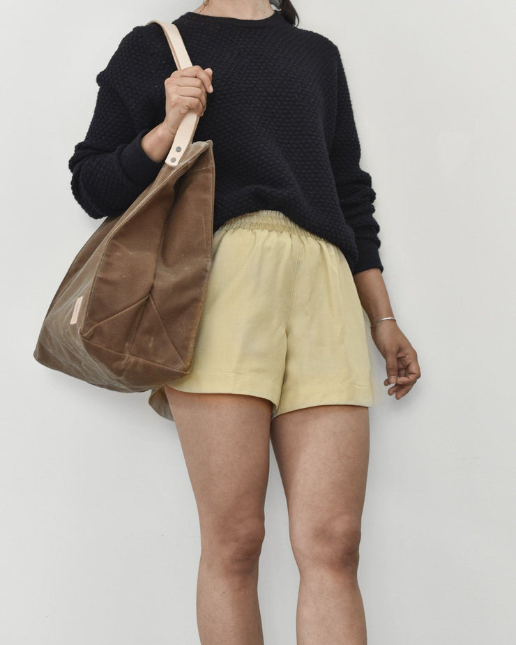 Womens The Tencel Shorts in Tan Front Side
