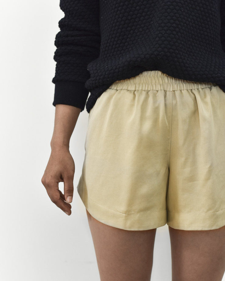 Womens The Tencel Shorts in Tan Front