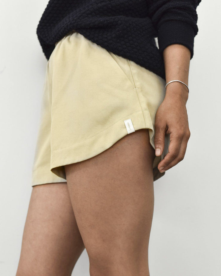 Womens The Tencel Shorts in Tan Front Side Detail