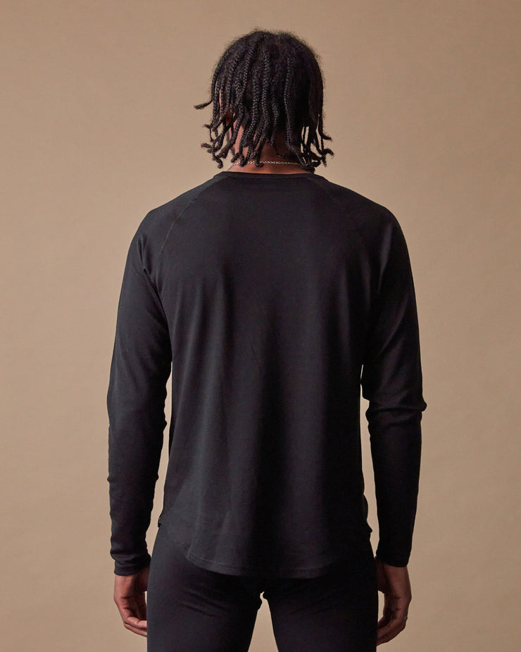 The 195 Merino Crew in Black - Back