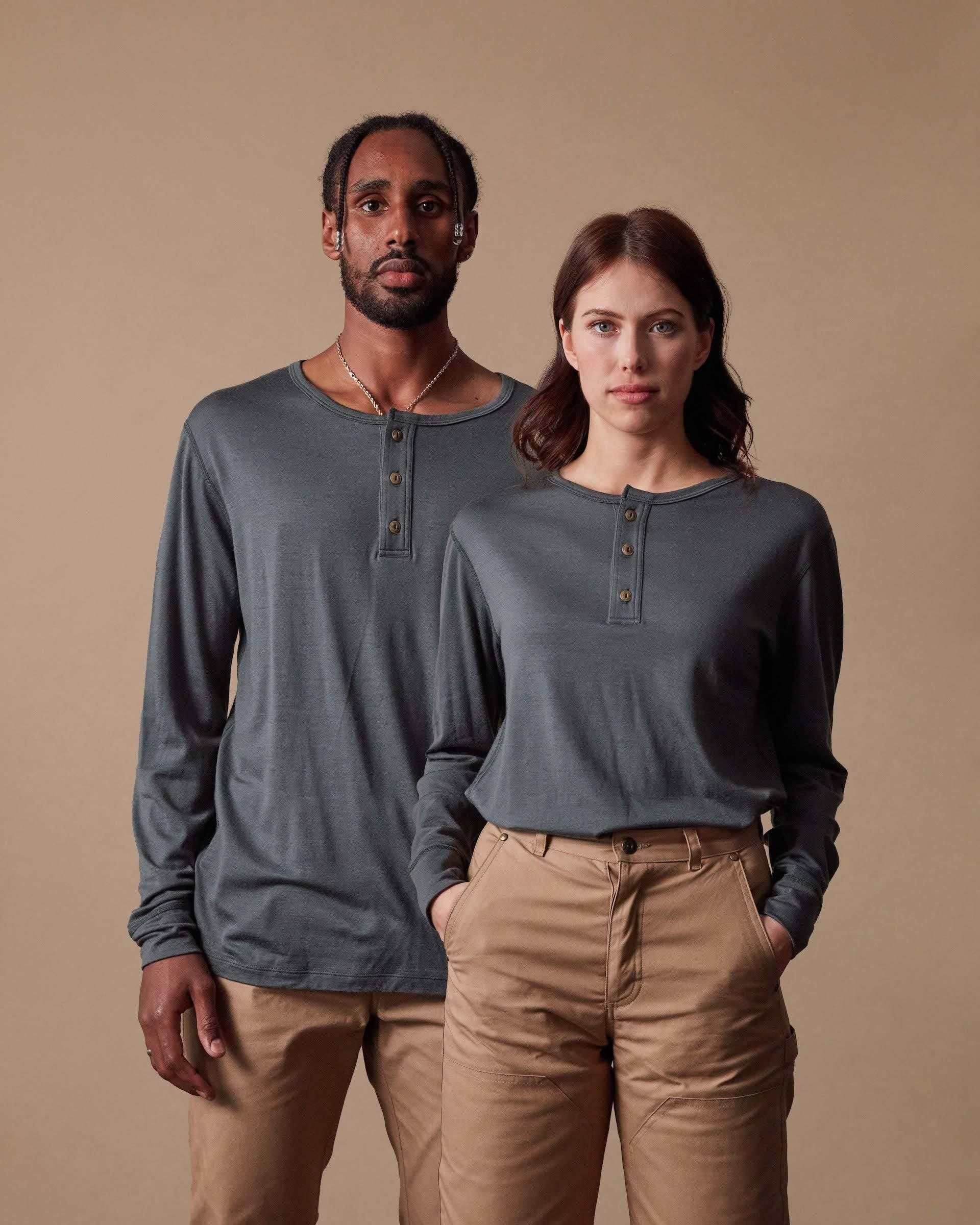 The 195 Merino Henley in Eucalyptus - Gender-Neutral #colour_eucalyptus