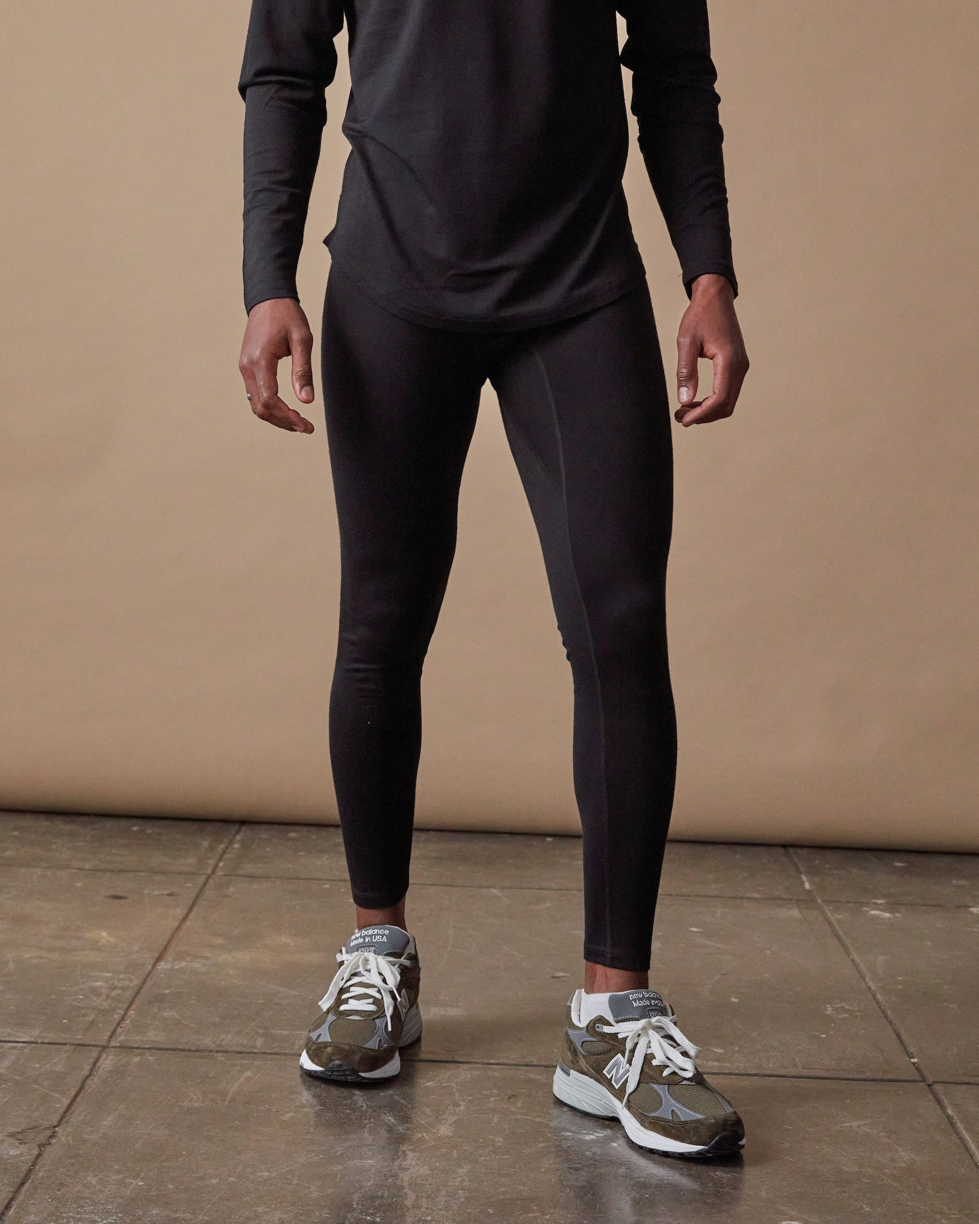 The 195 Merino Long John in Black - Front #colour_black