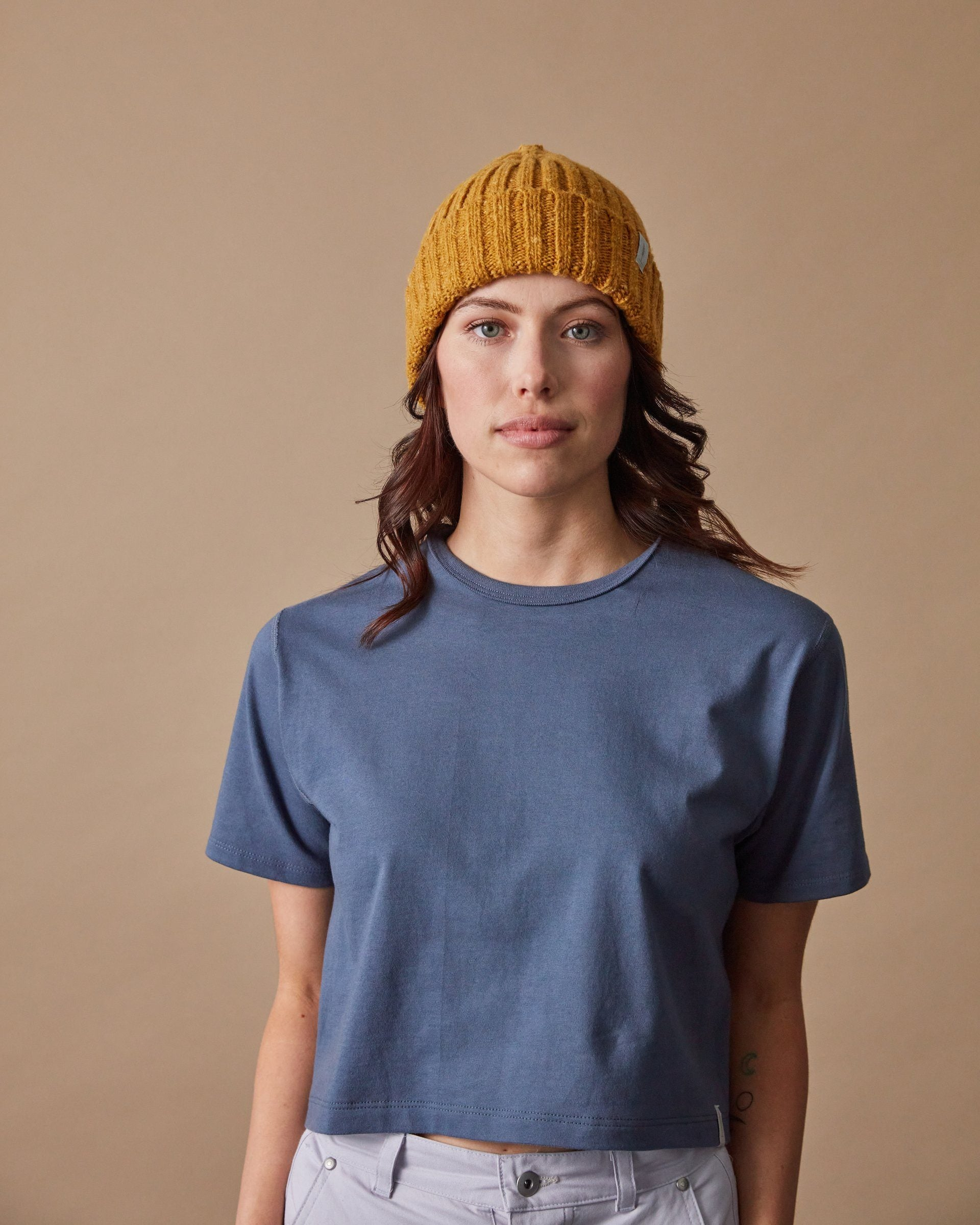 The Fisherman Toque in Speckled Yellow - Front#colour_speckled-yellow