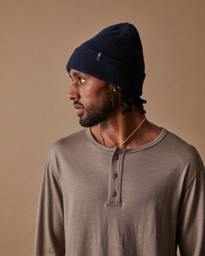 The Merino Cashmere Toque in Navy-Side#colour_navy