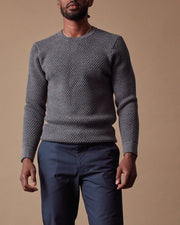 The Merino Sweater in Grey - Front#colour_grey