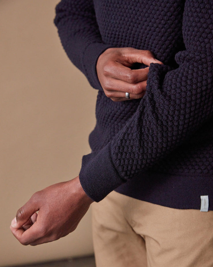 The Merino Sweater in Navy - Detail