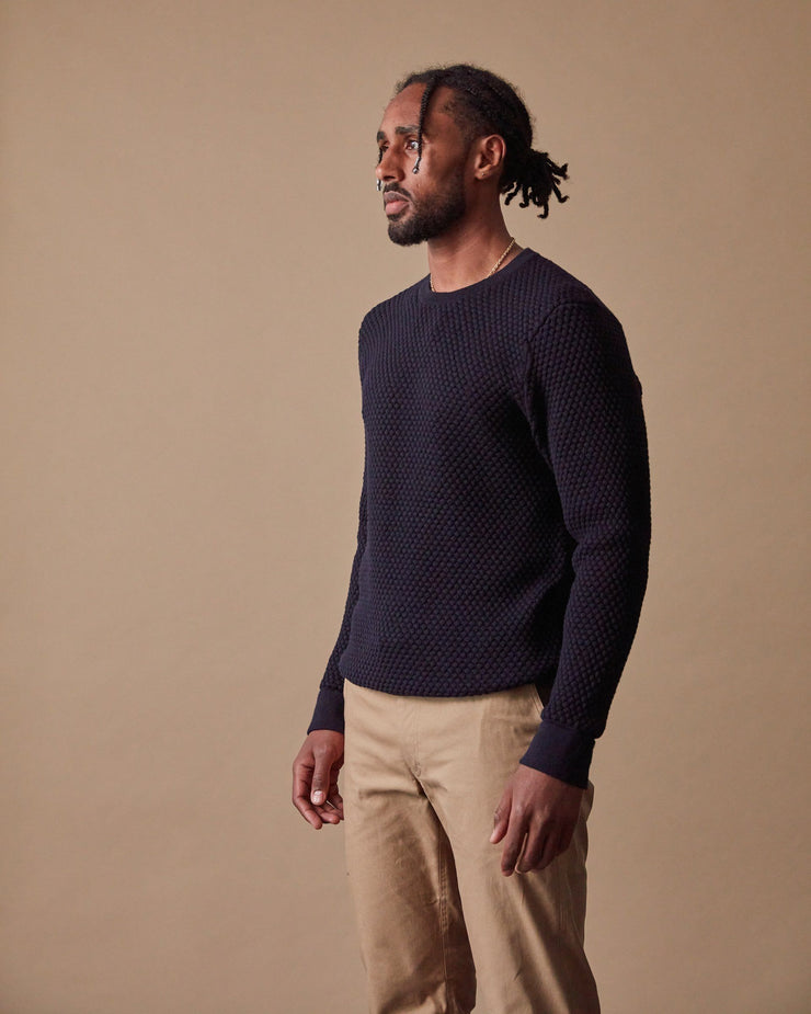 The Merino Sweater in Navy - Side
