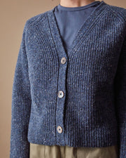 The Port Cardigan Speckled Blue Close Up #colour_speckled-blue