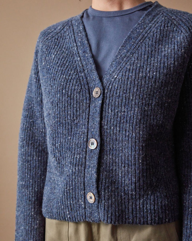 The Port Cardigan Speckled Blue Close Up