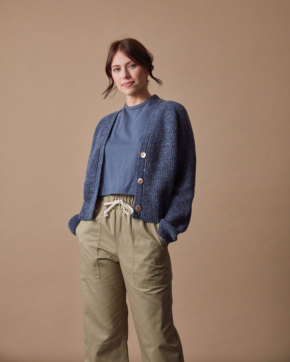 The Port Cardigan Speckled Blue Front #colour_speckled-blue