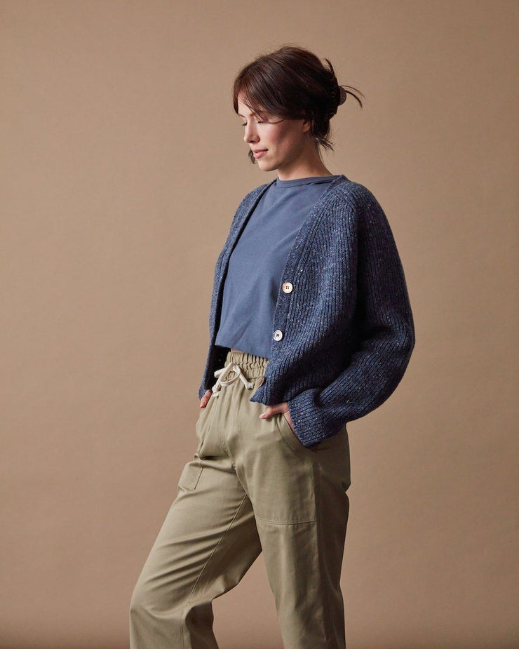 The Port Cardigan Speckled Blue Side