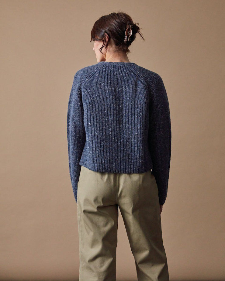 The Port Cardigan Speckled Blue Back
