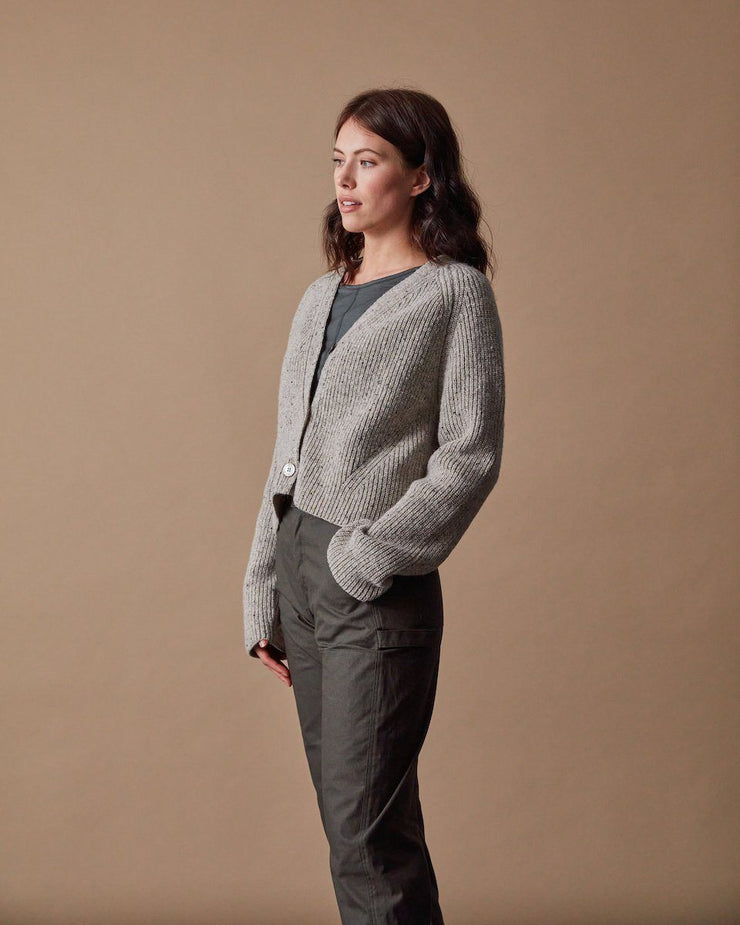 The Port Cardigan Speckled Oat Side