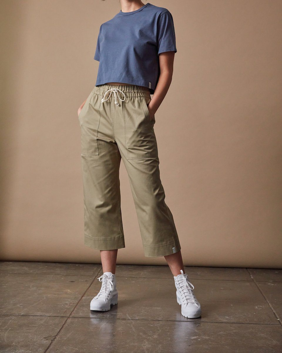 Womens The Twill Culottes in Khaki Front #colour_khaki