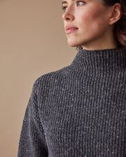 Women's Fisherman Sweater in Speckled Grey Close #colour_speckled-grey
