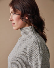 Women's Fisherman Sweater in Speckled Oat Close #colour_speckled-oat