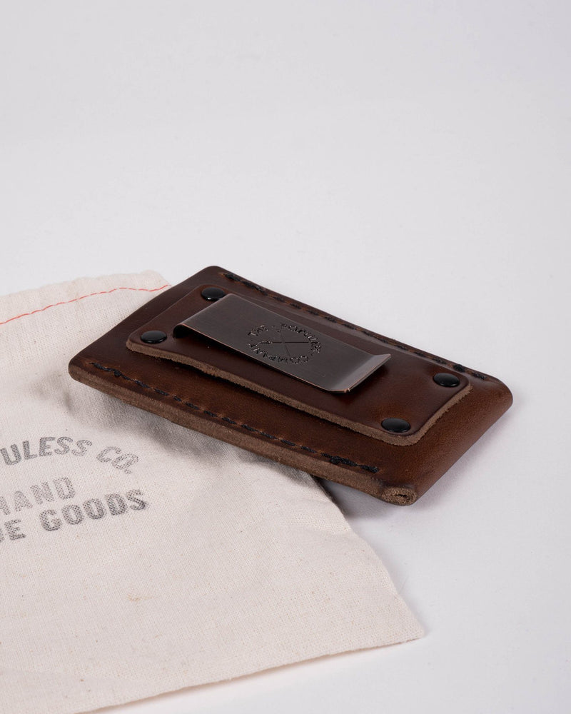The Sitka Larson Populess Company Leather By-Product Embossed Sitka Tree Three Slot Card Carrier Money Clip - Rustic Brown