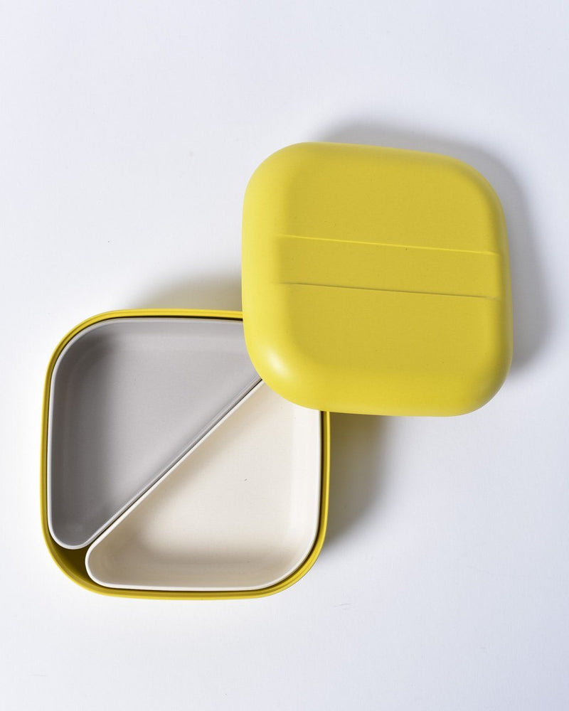 ekobo - lunch box - bento box - camp gear - square - Yellow