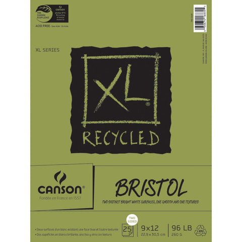 Canson - XL Recycled Paper - BRISTOL Two Distinct Sides - 25 Sheets 9x12 - Hallmark Scrapbook