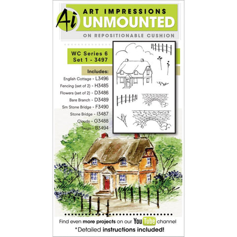 Art Impressions - Watercolor Cling Rubber Stamp Set - Series 6 Set 1