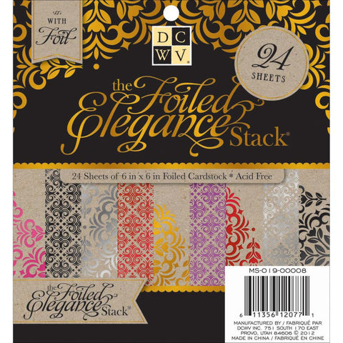 Die Cuts With A View - The Foiled Elegance Stack - 24 Sheets 6x6 - Hallmark Scrapbook