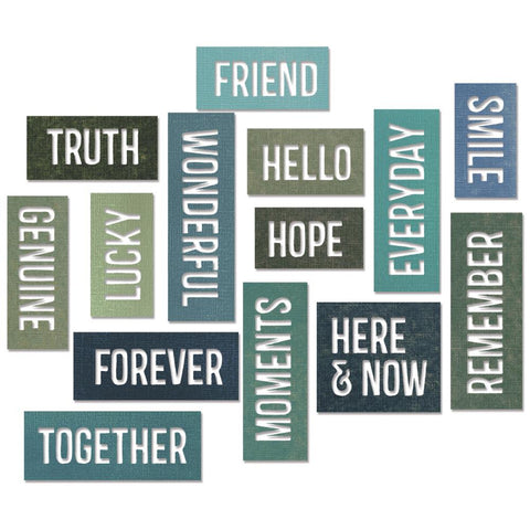 Sizzix Thinlits Die Set 11PK - FRIENDSHIP WORDS: Block by Tim Holtz - Hallmark Scrapbook - 1
