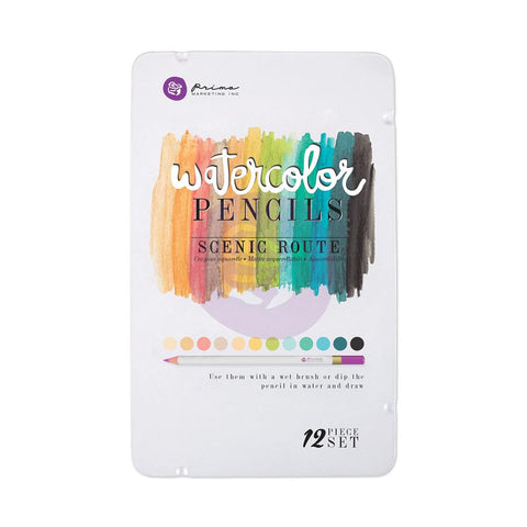 Prima Watercolor Pencils - SCENIC ROUTE 12pc Set - Hallmark Scrapbook - 1