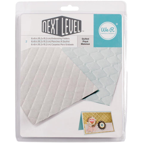 "We-R Memory Keepers - Next Level Embossing Folder - QUILTED 6""X6"" 2/PKG - Hallmark Scrapbook"