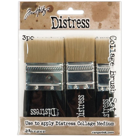 "Ranger  - Tim Holtz Distress COLLAGE Brushes - 3 pc 3/4"",1-3/4"",1-1/4"" - Hallmark Scrapbook"