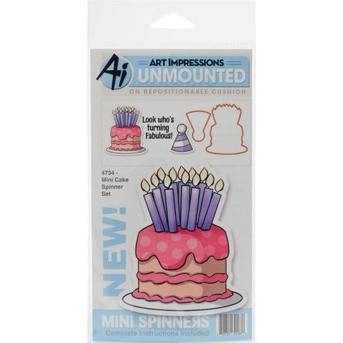 Art Impressions - Mini Spinners Stamp & Die Set  - CAKE - Hallmark Scrapbook - 1