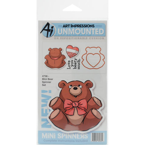 Art Impressions - Mini Spinners Stamp & Die Set  - BEAR - Hallmark Scrapbook - 1