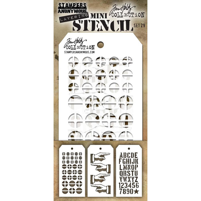 Tim Holtz - Mini Layering Stencils - SET #29 - Screwed, Direction, and Crate