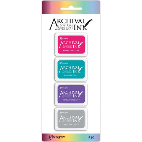 Ranger - Archival Ink - Mini Pad - Kit 4 - Vibrant Fuchsia, Paradise Teal, Majestic Violet, Shadow Grey