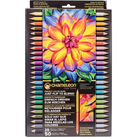 Chameleon - Color Tones Double-Ended Colored Pencils Set - 25PC (50 Colors)