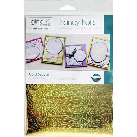 "Therm-O-Web - Gina K Fancy Foil - GOLD SEQUIN - 6""x8"" 12 Sheets"