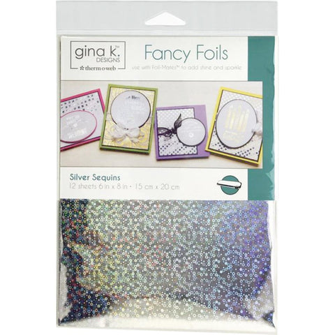 "Therm-O-Web - Gina K Fancy Foil - SILVER SEQUIN - 6""x8"" 12 Sheets"