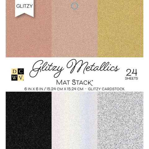 Die Cuts With A View - Metallic Glitzy Glitter - 24 Sheets 6x6