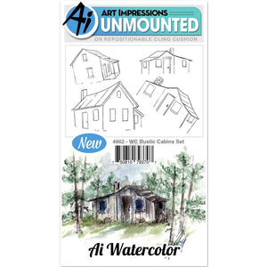 Art Impressions - Watercolor Cling Rubber Stamp Set - RUSTIC CABINS