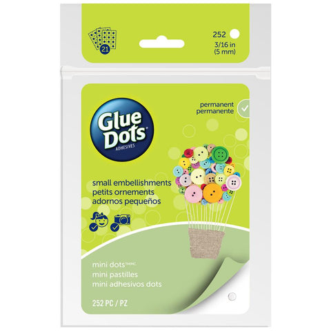 "Glue Dots - Clear Dot Adhesive Sheets - MINI DOTS 3/16"" .1875"" 252/Pkg (21 Sheets)"