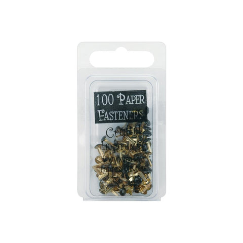 Creative Impressions - Mini Metal Paper Fasteners 3mm 100/Pkg - BLACK