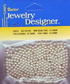 Darice -  CREAM Pearl Beads 3mm -300pcs - Hallmark Scrapbook - 1