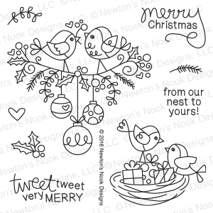 Newton's Nook Designs - HOLIDAY TWEETS Clear Stamps - Hallmark Scrapbook - 1