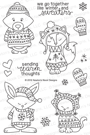 Newton's Nook Designs - SWEATER WEATHER Clear Stamps - Hallmark Scrapbook - 1