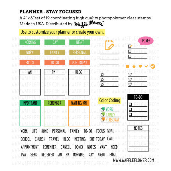 waffle flower planner stay focused clear stamps hallmark scrapbook