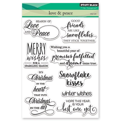 Penny Black - LOVE & PEACE - Clear Stamps Sentiments Set - Love and Peace