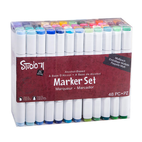 STUDIO 71 - ALCOHOL INK MARKER SET: Dual Tip 48 pieces - 35% OFF!