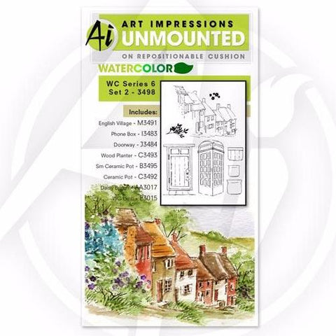Art Impressions - Watercolor Cling Rubber Stamp Set - Series 6 Set 2