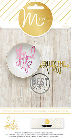 Heidi Swapp Minc - Die Cuts - Phrases (4 Piece) - by WeR Memory Keepers - Hallmark Scrapbook