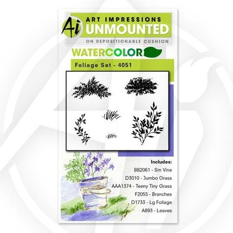 Art Impressions - Watercolor Cling Rubber Stamp Set - FOLIAGE Set 1